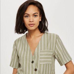 TOPSHOP. Striped linen shirt. Sage. Size US 4.